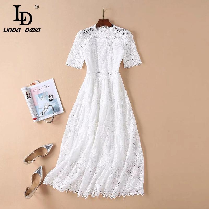 7f339acca5413 Hot Sale] LD LINDA DELLA 2019 New Summer Runway Long Dress Women's ...
