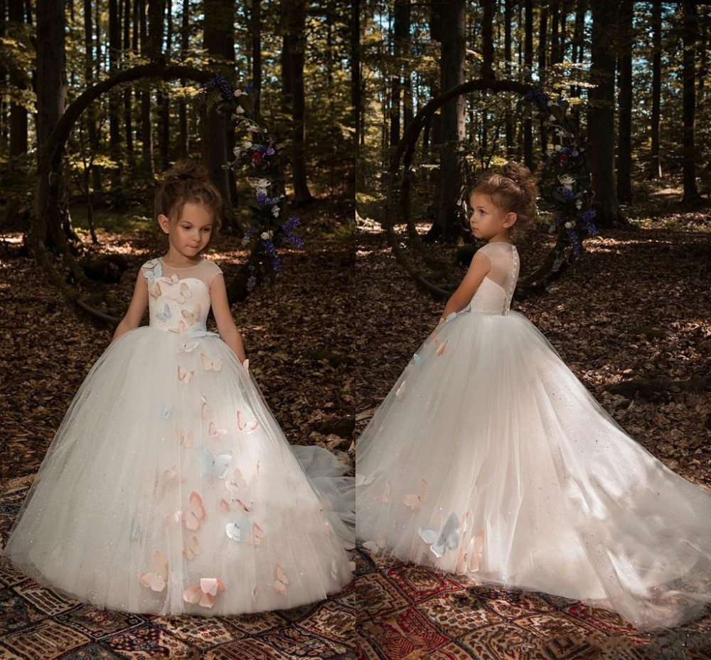 2019 Butterfly Floral Appliques   Flower     Girls     Dresses   Cap Sleeves A Line Tulle Long Little   Girls   Pageant   Dresses   Formal