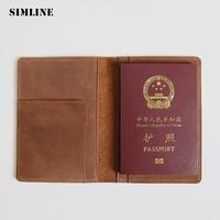 SIMLINE Vintage 100 Genuine Crazy Horse Leather Men Male Travel Short Passport Wallet Card Holder Wallets