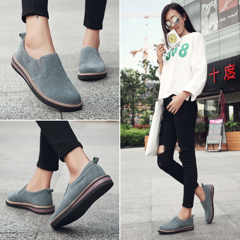 Cow   Suede     Leather   Women Oxford Shoes Spring Ladies Flats Sneakers Loafers Casual Shoe Autumn Boat Shoes 2019 Moccasin H-748