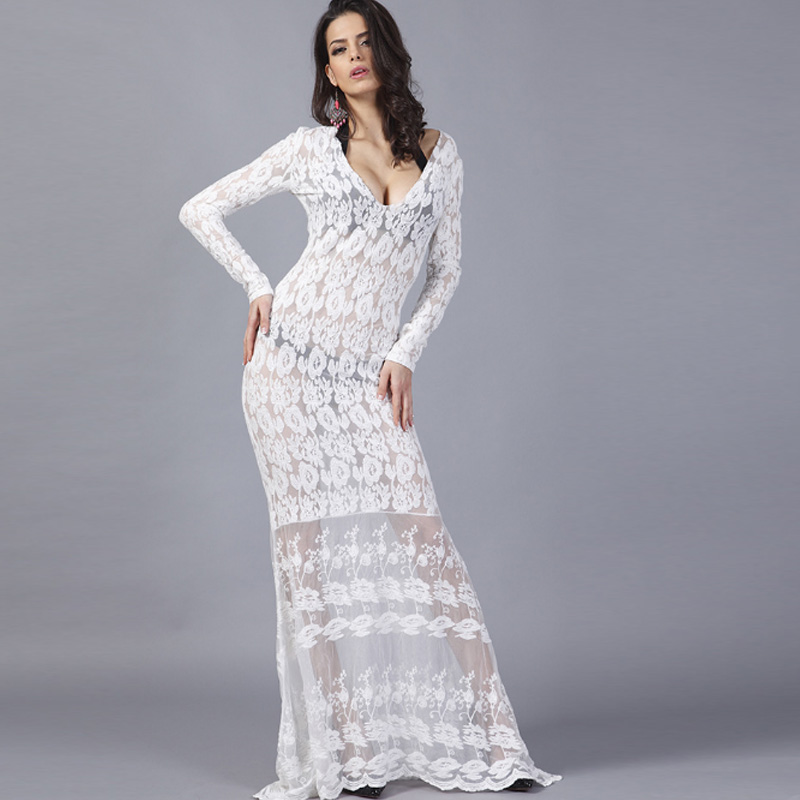 2018 hot sale white long sleeve pacthwork meash hollow out transparent gauze lace summer autumn embroifery beach women's dresses