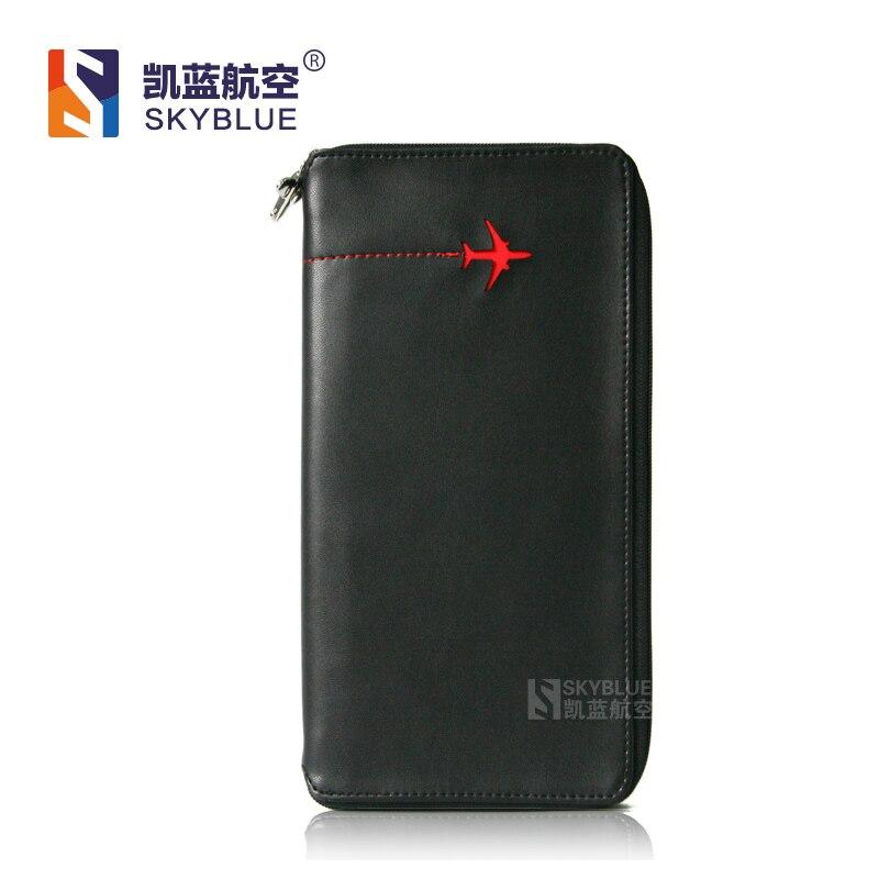 Новый Для мужчин клатч бумажник черный Пояса из натуральной кожи Визитница с милый красный летающий самолет Best подарок для Pilot экипаж