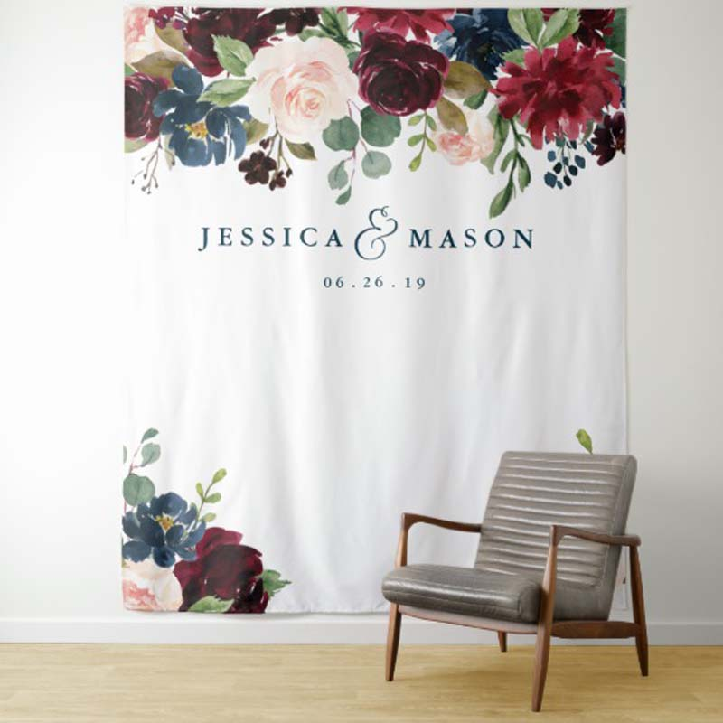 Custom Name Wedding Backdrop   Party Tapestry  Dorm Decor For Living Room Earth Wall Hanging Art For Bedroom Living Room College