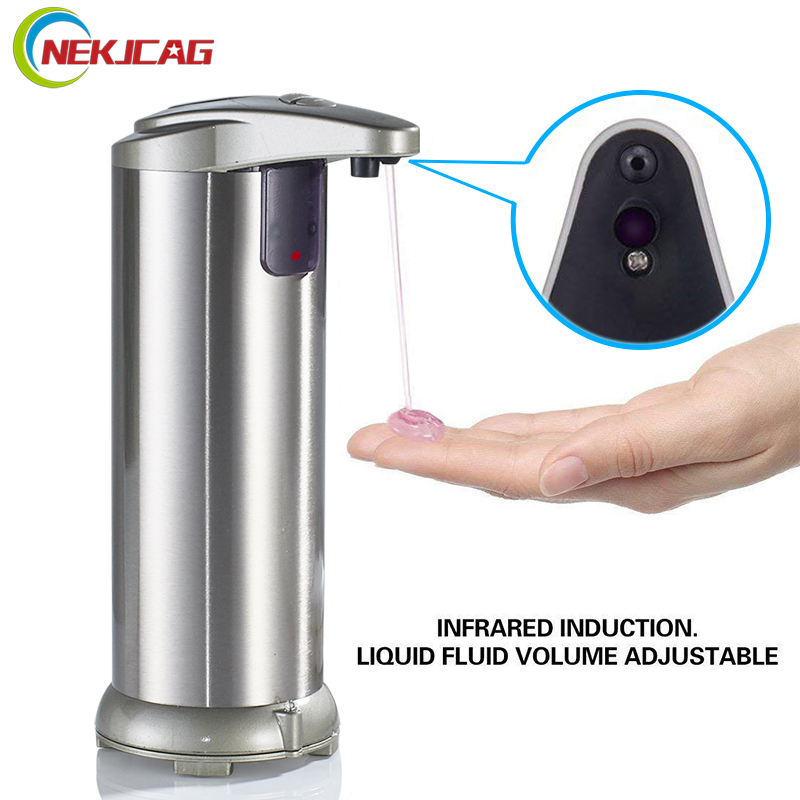 Free Shipping Automatic Electroplate Soap Dispenser Stainless Steel Infrared Handfree Sanitizer Soap for Detergent universal ac charger for aa aaa 6f22 18650 battery ac 100 240v us plug