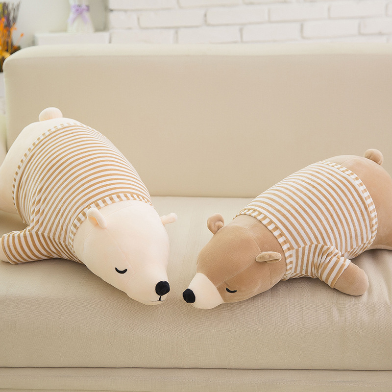 big new plush lying bear toy creative stripe clothes polar bear doll gift about 70cm new plush gentle teddy bear toy creative suit bear doll gift about 50cm