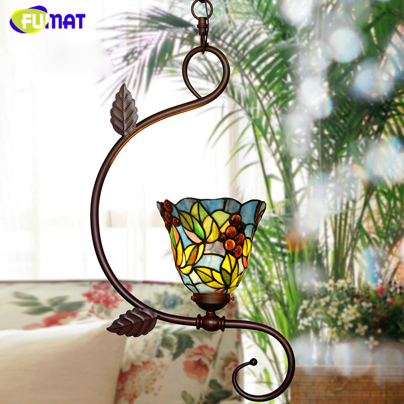 FUMAT Stained Glass Pendant Lights Garden Art Lamp Dinner Room Restaurant Suspension Lamp Orchids Rose Grape Glass Lamp Lighting fumat stained glass pendant lights garden art lamp dinner room restaurant suspension lamp orchids rose grape glass lamp lighting