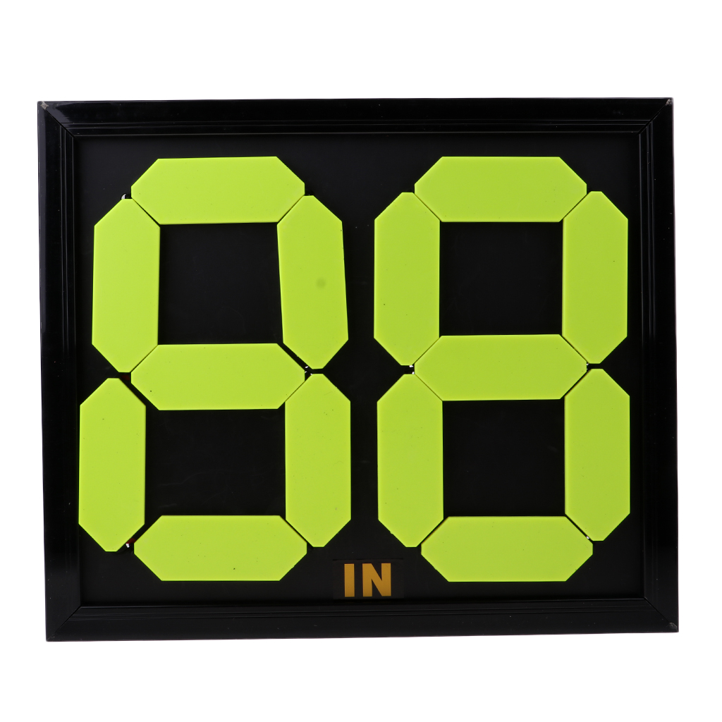 ABS Football Substitution Card Double Side Display 4-digits Fluorescent Display Socceer Accessories