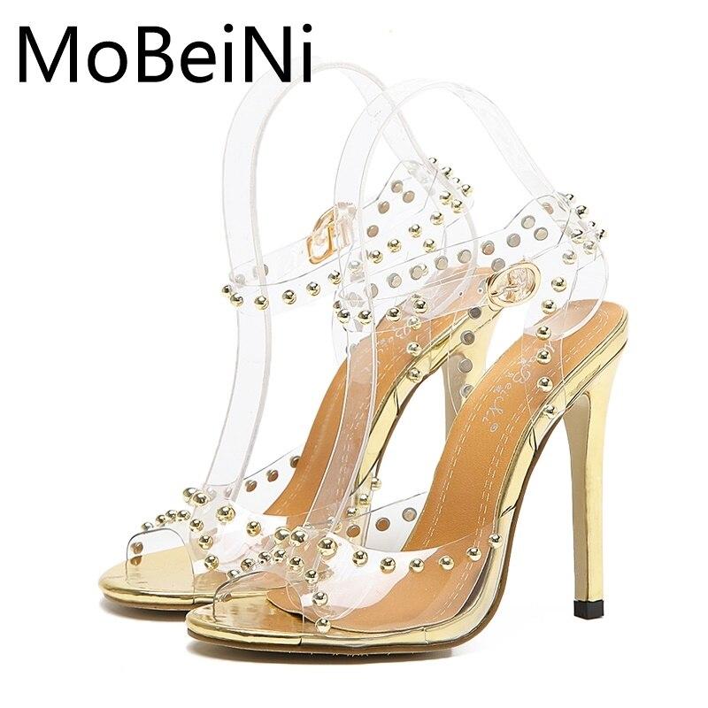 MoBeiNi PVC Shoes Women Pumps Summer New Roman Style High Heels Catwalk Transparent Fish Mouth Open Toe Rivets Stiletto Sandals