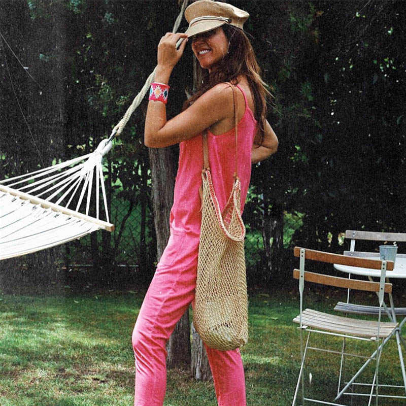 ELSVIOS, женский сексуальный комбинезон без рукавов на бретелях, Летний комбинезон с открытой спиной и карманами, мешковатые брюки, комбинезоны, повседневные однотонные пляжные Комбинезоны для женщин
