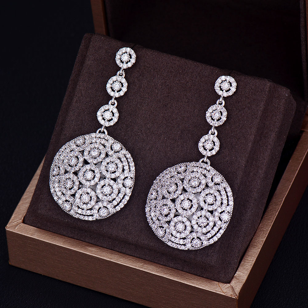 GODKI Brand New Fashion Popular Luxury Long Round Shape Dangle Full Mirco Pave Cubic Zirconia Engagement Party Silver Earring