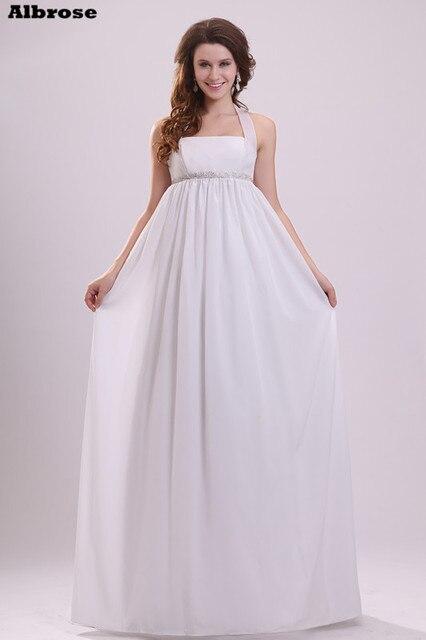 Sexy шифон Холтер свадебное платье 2017 простые дешевые бисером Свадебные платья Длинные империи талии Беременная Для женщин официальная Вечеринка платья
