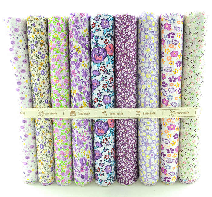 Booksew 9 Designs Purple Flower Cotton Fabric Fat Quarter Bundle Tilda Scrapbooking Quilting Patchwork Needlework 50cmx50cm