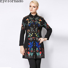 Women winter vintage flower embroidered long-sleeve wool coat casual blends coat outerwear high quality casaco overcoat 8010