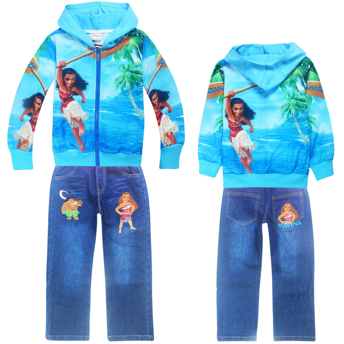 2017 Autumn Winter Children Kids Girls Clothing Sets Jacket Suits Moana Vaiana Baby Girls Zipper Hooded+jeans Pant Clothes Set autumn winter girls children sets clothing long sleeve o neck pullover cartoon dog sweater short pant suit sets for cute girls