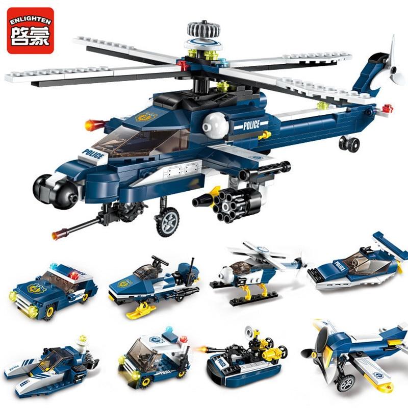 Enlighten 381Pcs 8 IN 1 City Police Fighter Building Blocks Sets Storm Armed Helicopter LegoINGLs Bricks Toys for Children