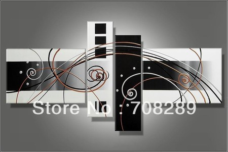 Handmade 4 piece hitam putih modern abstrak wall art minyak lukisan on canvas gambar besar untuk