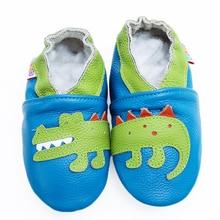 Тапочки для ползания для маленьких мальчиков; обувь для младенцев и малышей; мокасины из мягкой кожи с замшевой подошвой для первых прогулок; противоскользящая обувь с динозаврами