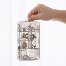 2019 Plastic Storage Box Storage Organizer Bead Storage Double Jewellery Box Plastic Transparent Earrings Box 10 Grid