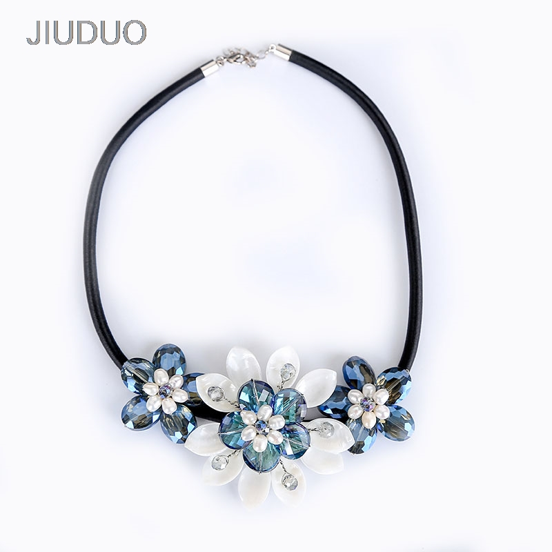 JIUDUO jewelry Genuine luxury support Natural Pearl Necklace For Women Beautiful Shell Necklaces Simulated Crystal Jewelry classical malachite green round shell simulated pearl abacus crystal 7 rows necklace earrings women ceremony jewelry set b1303