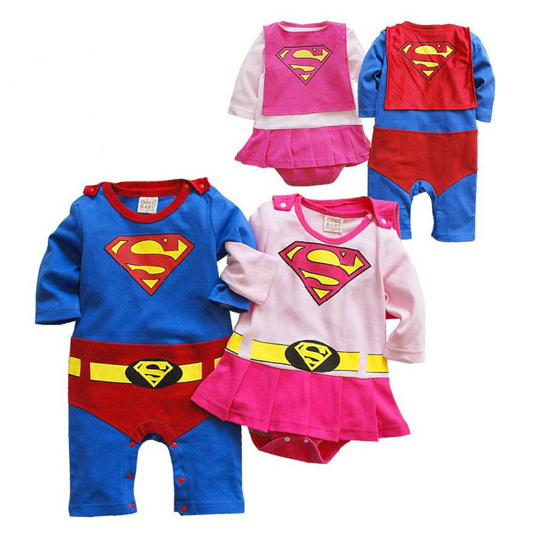 2016 New Fashion Cartoon Cotton Boys Clothes Jumpsuit Batman Baby Boy Rompers Superman Baby Gilr Romper