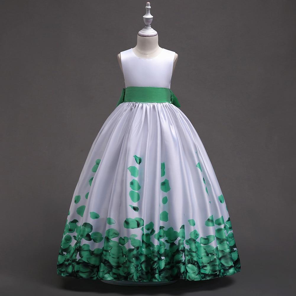 Summer Children Clothing Teen Dress Green Burgundy Blue and White Summer Girls Petal Dresses Formal for Girls 5 To 14 Years