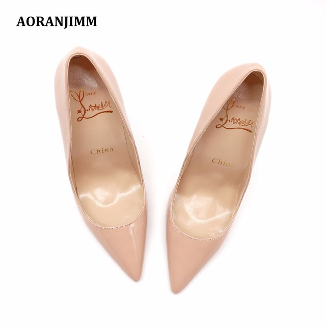 Free shipping real pic AORANJIMM claiss nude patent leather office lady OL style women lady 120mm high heel shoes pump 2