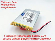 Batterie polymère 2800 mah 3.7 V 505080 haut-parleurs MP3 maison intelligente batterie Li-ion pour dvr, GPS, mp3, mp4, téléphone portable, haut-parleur