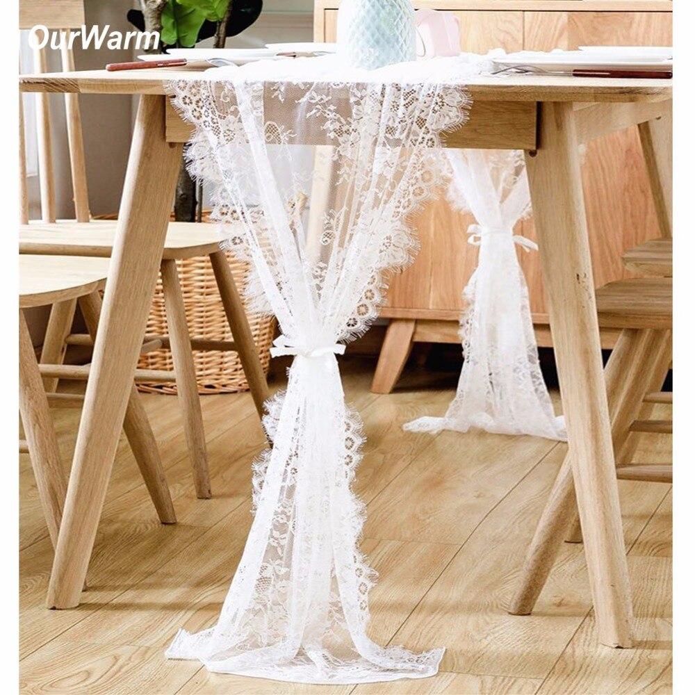 OurWarm Dentelle Chemin de Table De Mariage Décoration Fringe Bord Floral Nappe D'anniversaire Décoration Textile de Maison 35X300 CM 70X300 CM