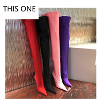 THIS ONE2018 Summer Sexy Thigh High Boots Satin Stretch Elastic Over The Knee Sky blue Slim High Heels Long Boots Women Shoes