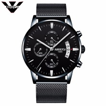 NIBOSI Men Watches Famous Luxury Brand Quartz Military Sport Watch Men's Wristwatches Milanese Mesh Band Wholesale Factory Price