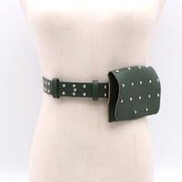 Women fashion punk style studded belt small pocket black belts new 2018 female red green brown