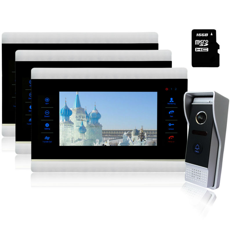 Homefong high tech video door phone 7 0 inch 24 hours monitor metal outdoor camera waterproof