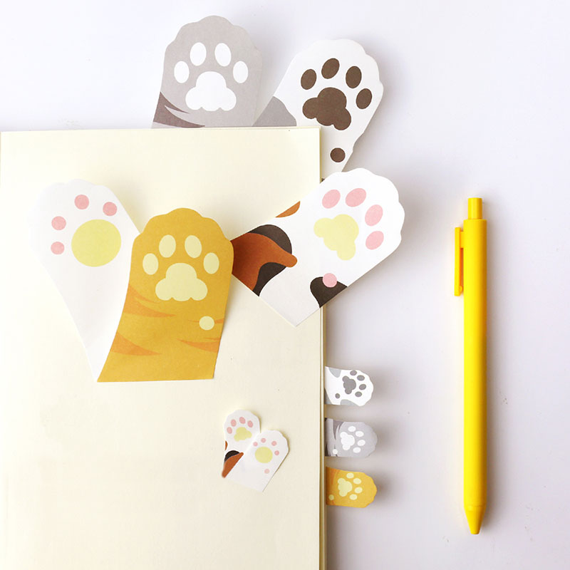 1X Cute Cat Feet Weekly Plan Sticky Notes Post Memo Pad Kawaii Stationery School Supplies Planner Stickers Paper Bookmarks