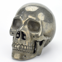 6 '' Crystal Skull Figurine Natural Pyrite Stone Carved Crystal Skull Statue Realistic Healing Crystal Sculpture Home Decoration