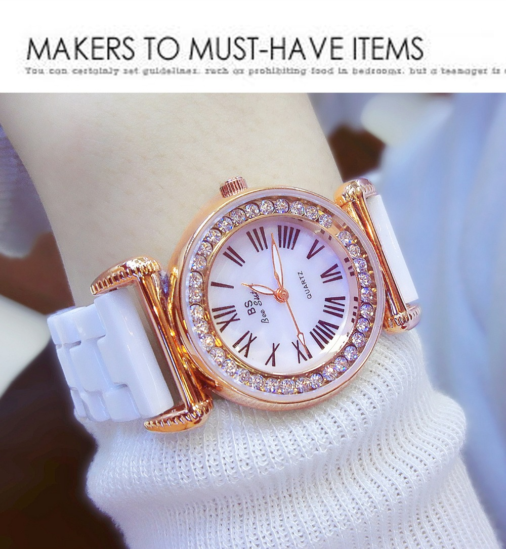 New Must Have Natural Mother of Pearl Watch Women Fashion Ceramic Band Watch Luxury Diamond Bangle Watch Rhinestone Bracelet must have