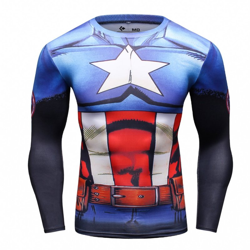 Red Plume Mens America Leader Characters Printed Cosplay Comfortable Exercise Fitness Long Sleeve Sports Running Fitness Shirt