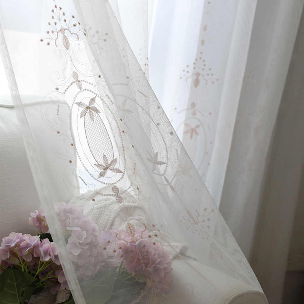 Embroidered Pink Floral with Beads Sheer Voile Curtains for Kids Girls Room White Decor Curtain Tulle Drapery for Balcony TM0213