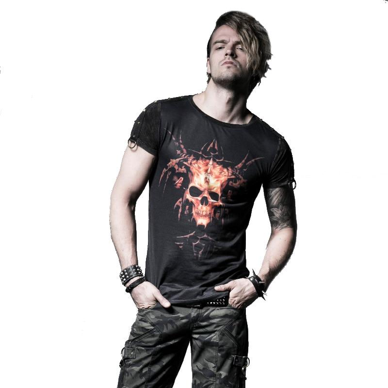 Punk d'été nouveaux produits 2016 Cornes fantôme ne vieux hommes t-shirt numérique impression chemises