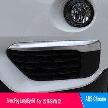 2PCS Chrome Front Fog Light Lamp Eyelid Stripe Cover Trim For BMW X1 F48 2016 2017
