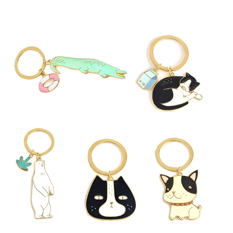 Cute Animal Keychain Dog Black Cat Kitty Polar Bear Krokodils Fox Atslēgu piekariņš Corgi Bulldog Kucēns Atslēgu piekariņi Aksesuāri Pet Jewelry