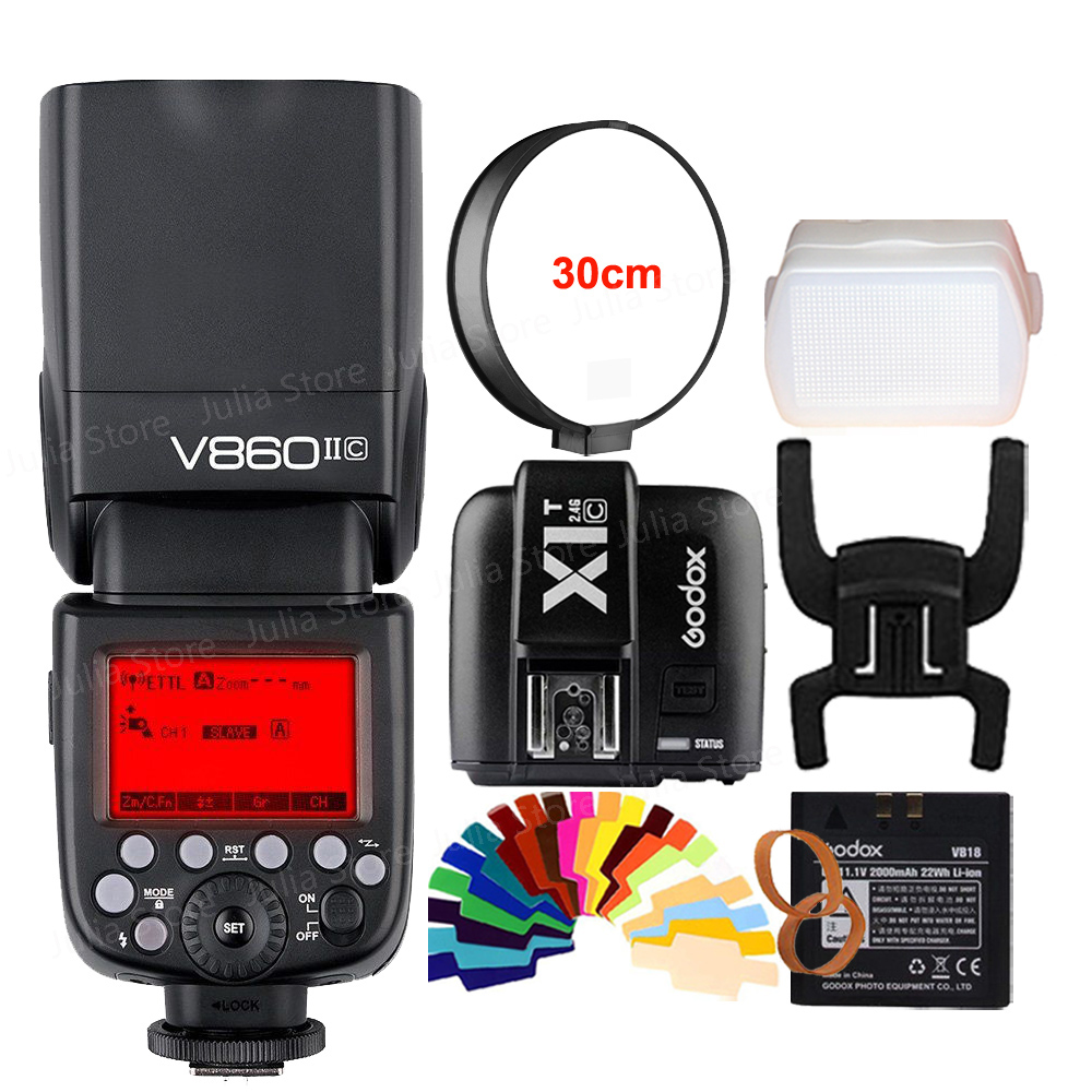 Godox Ving V860II V860II-C E-TTL HSS 1/8000 Li-ion Battery Speedlite Flash for Canon DSLR + Gift Kit meike dslr camera built in 2 4g battery grip for canon eos 7d mark ii as bg e16
