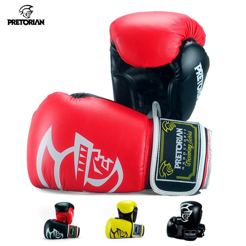 лучшая цена Pretorian 10/12/14/16OZ Kids Adults Women Men Boxing Gloves MMA Sanda Muay Thai Boxe Mitts Pro Punch Training Equipment 2017DBO
