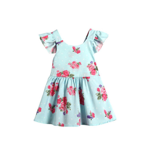 Princess Dress Baby Girls Floral Dress Kids Baby Party Bowknot Backless Tutu Dresses 0-24M