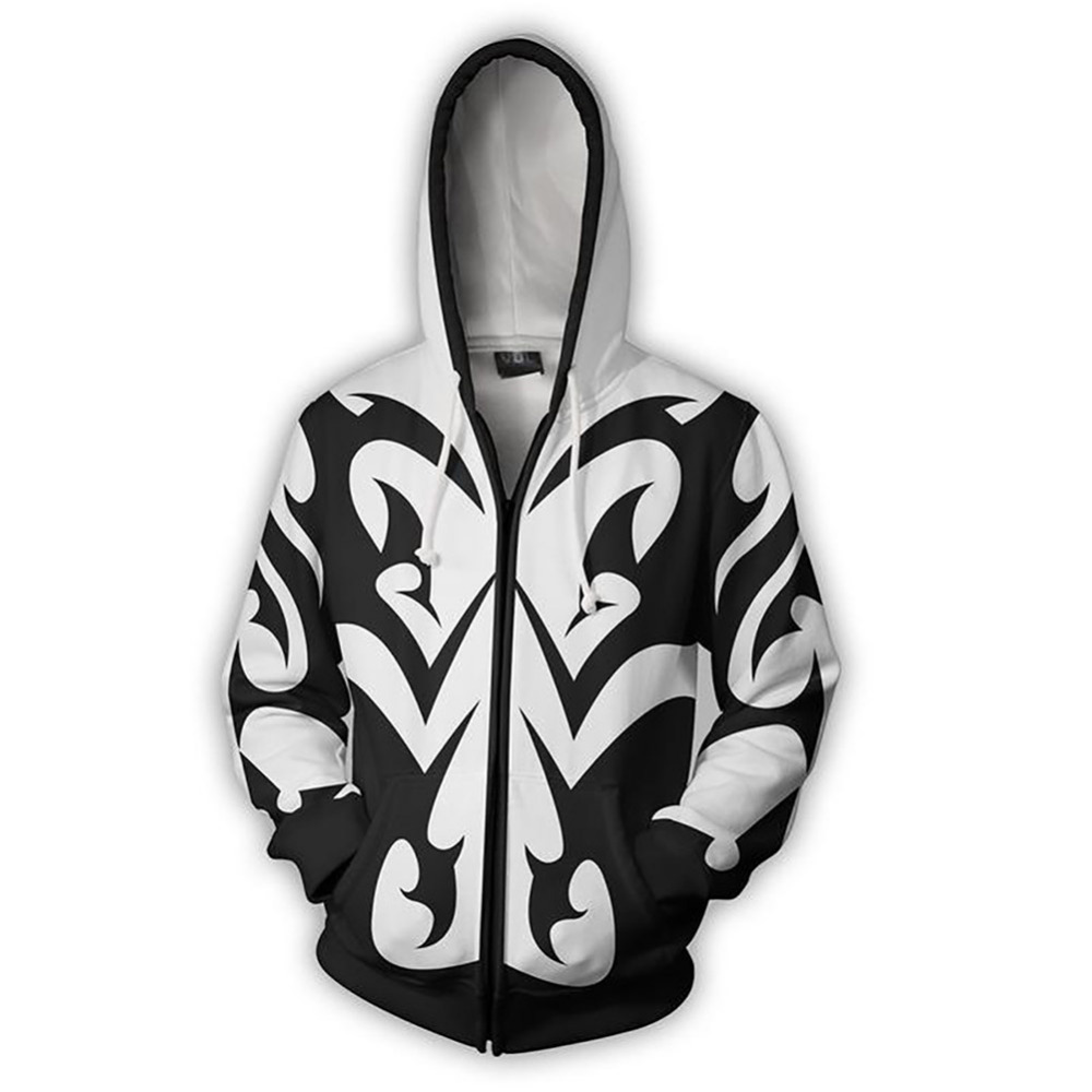 Kingdom Hearts Sora Cosplay Costume Print 3D Zipper Hoodies Men Women Anime Sweatshirts