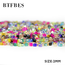BTFBES Square Shape 2mm 200pcs Austrian Crystal Beads Quadrate glass Loose bead for Jewelry Bracelet earring Necklace making DIY