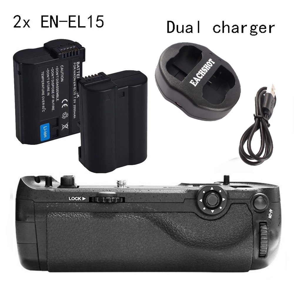 Pixel Vertax D17 Battery Grip for Nikon D500 as MB-D17 + 2*EN-EL15 + Dual Charger pixel vertax d17 professional battery grip for nikon d500 compatible with en el15 or aa battery replacement for nikon mb d17