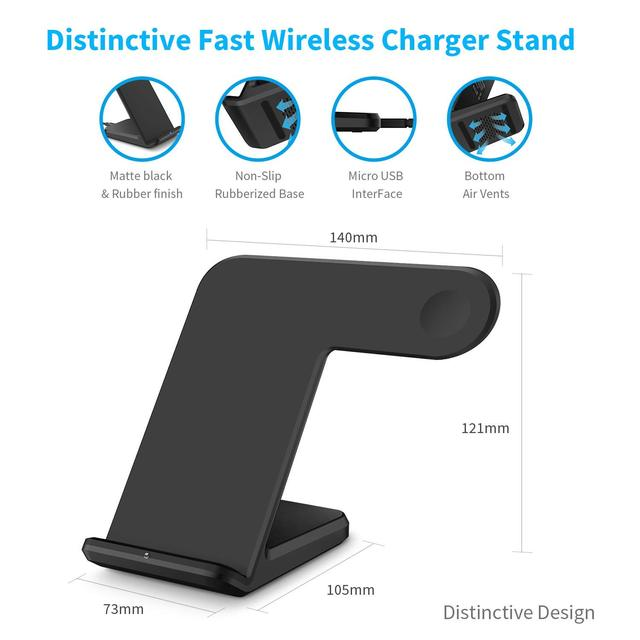 2 in 1 Wireless Charging for Apple watch 1 2 3 4 Qi Fast Wireless Charger Dock Stand for iPhone XS X 8 Plus Samsung Galaxy S9 S8 2