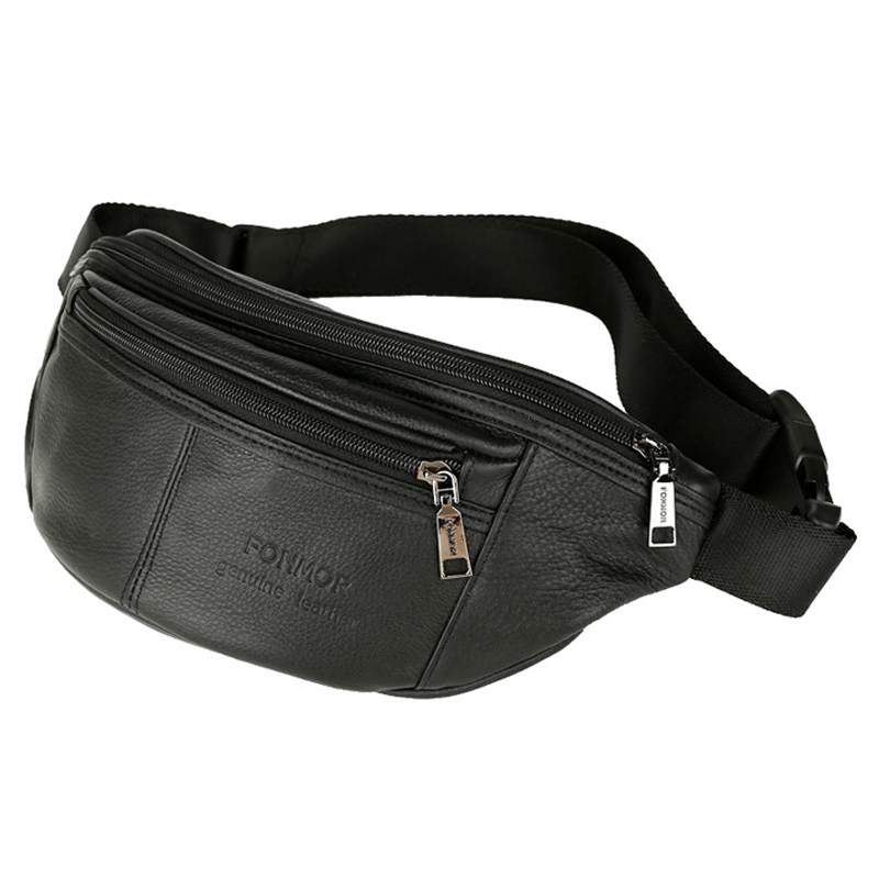 Men's Waist Packs Male Genuine Leather Fanny Pack Belt Bag Phone Pouch Bags Travel Waist Pack Male Small Waist Bag Leather Pouch