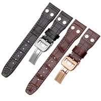 Genuine Leather Watch bands 22mm Black Brown Crocodile grain Replacement Strap