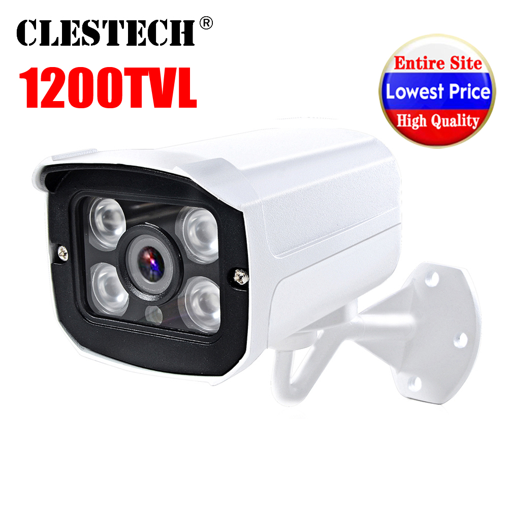 4led Array Real Full HD 1200TVL Cctv Camera 960H Analog vanntett IP66 Utendørs IR-CUT Infrarød 30m nattsyn sikkerhet Video